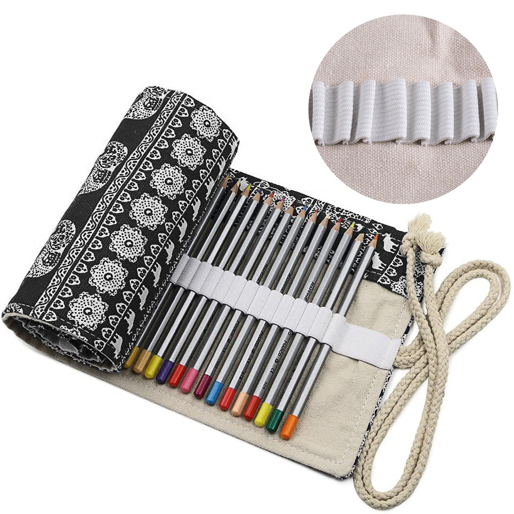 Handmade Canvas Pencil Roll Drawing Sketch Pouch Storage Case Bag Portable Pen Case Pencil Bag Drawing Painting Artistic Tool Black for School Office Art