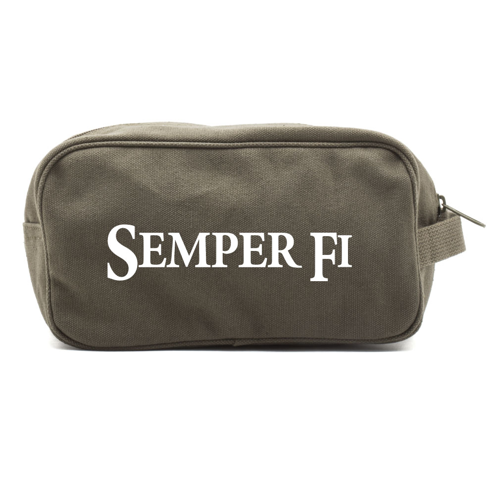 Semper Fi Text Canvas Dual Two Compartment Travel Toiletry Dopp Kit Bag