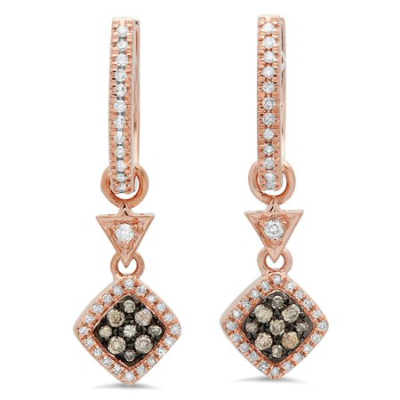 0.50 Carat (ctw) 14K Gold Champagne & White Diamond Ladies Cluster Dangling Drop Earrings 1/2 CT