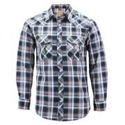 Mens Western Pearl Snap Button Down Casual Long Sleeve Plaid Cowboy Shirt (#7 Blue/White, 2XL)