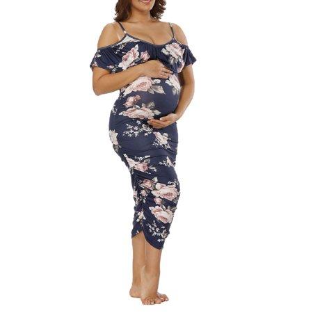 b54fd566ec321 Women Maternity Off Shoulder Dress Floral Pregnant Photography Cut Out  Ruffles Short Sleeve Straps V Neck Loose Dresses