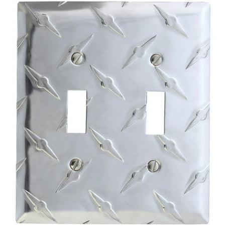 elumina garage diamond cut design wallplate, double toggle