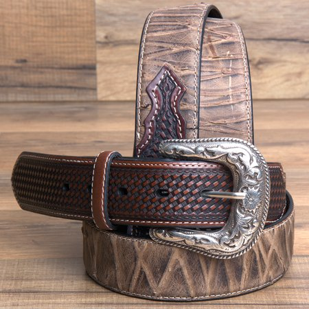 32 46  Roper Mens Basketweave Top Grain Leather Belt Bark Design 1 1 2  Wide Brown