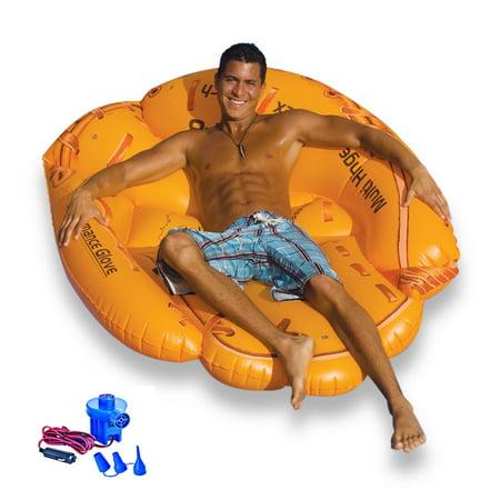 Swimline Giant Inflatable 62 Inch Baseball Glove Swimming Pool Float + 12V Pump - Inflatable Baseball