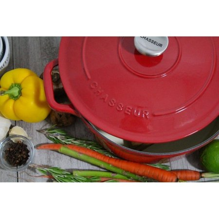 Chasseur  5.5-quart Red French Enameled Cast Iron Round Dutch Oven Chasseur Cast Iron Casserole