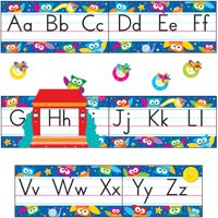 Trend, TEP8364, Owl-Stars Alphabet Manuscript Bulletin Board Set, 1 Set, Assorted