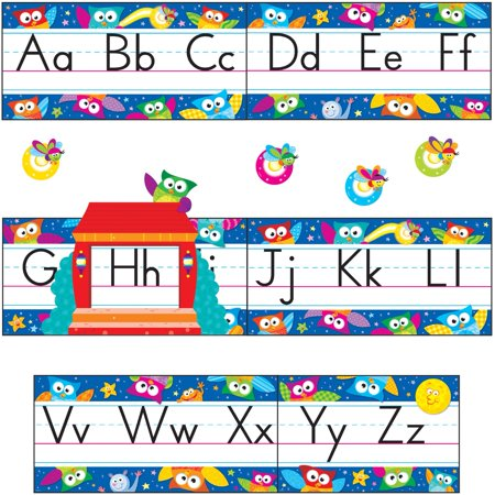 Trend, TEP8364, Owl-Stars Alphabet Manuscript Bulletin Board Set, 1 Set, Assorted (Sunday School Bulletin Board)