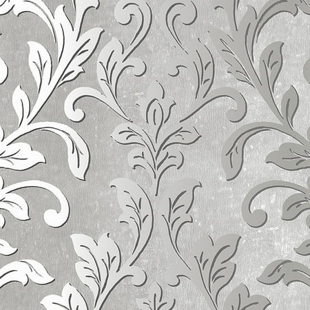 Norwall Wallcoverings Tx34843 Texture Style 2 Silver Leaf Damask Wallpaper Black Grey