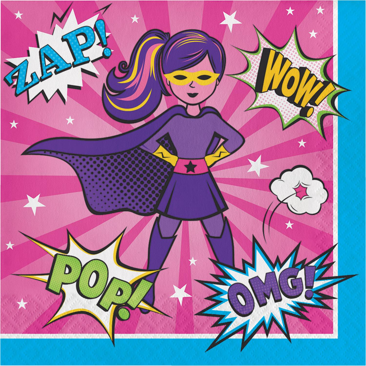 Club Pack Of 192 Pink and Purple Girl Super Hero Luncheon Napkin 6.5""
