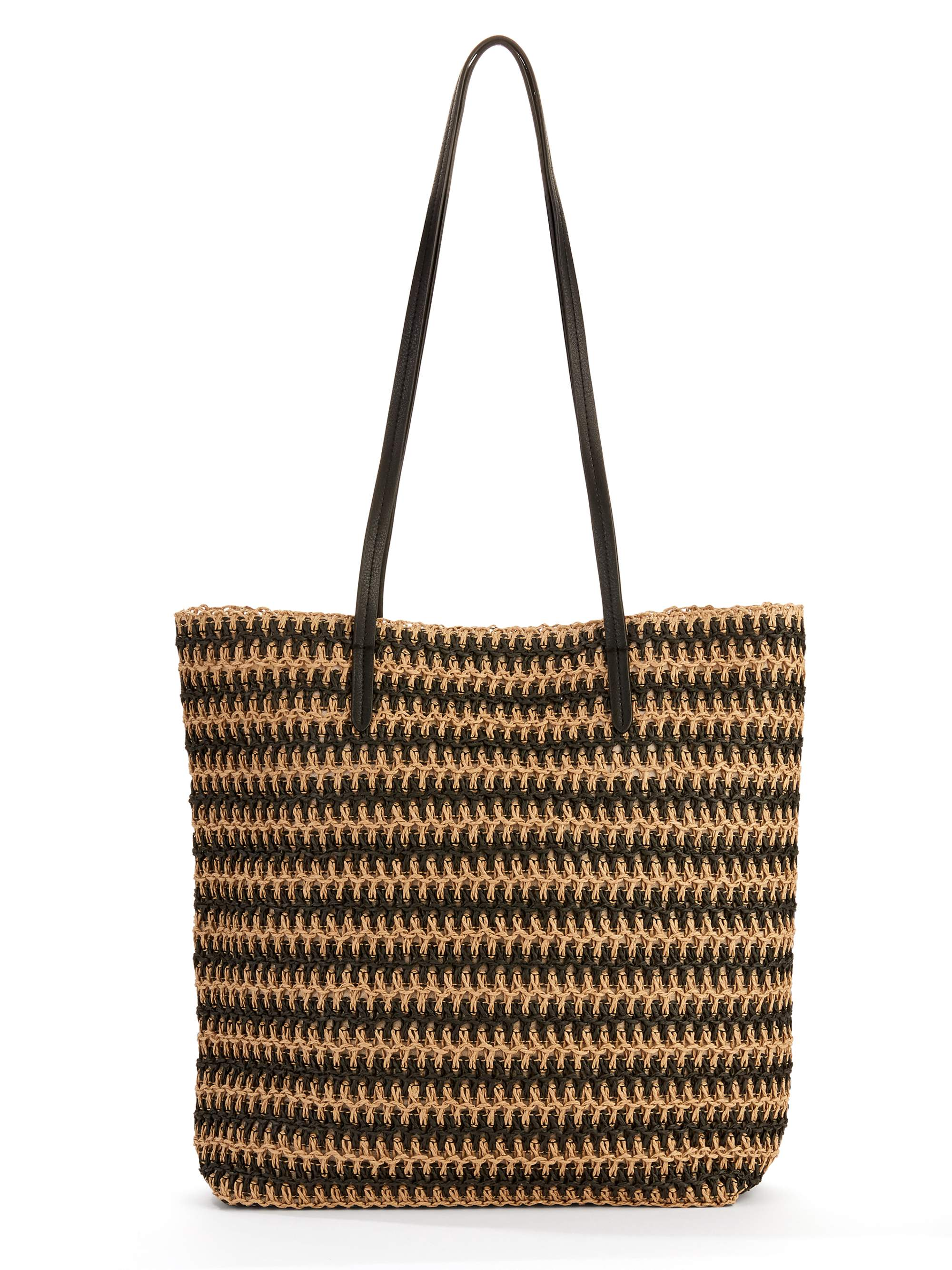 Time & Tru Black Natural Stripe Packable Straw Tote