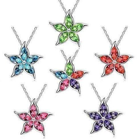 Starfish Flower Jewel IOBI Crystals Necklace - Choose Your Color Blue