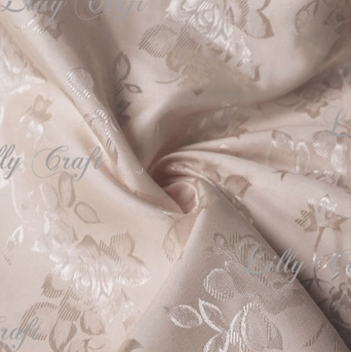 "Taupe Brocade Jacquard Satin Fabric 58""/60"" Inches Wide - Sold By The Yard"