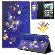 Dteck Flip Case For Amazon Kindle Fire HD 8 (6th/7th/8th Generation, 2016/2017/2018), PU Leather Case w/Butterfly Design, Built-in Card Slots/Money Pocket, Stand Protective Cover, Purple Butterfly
