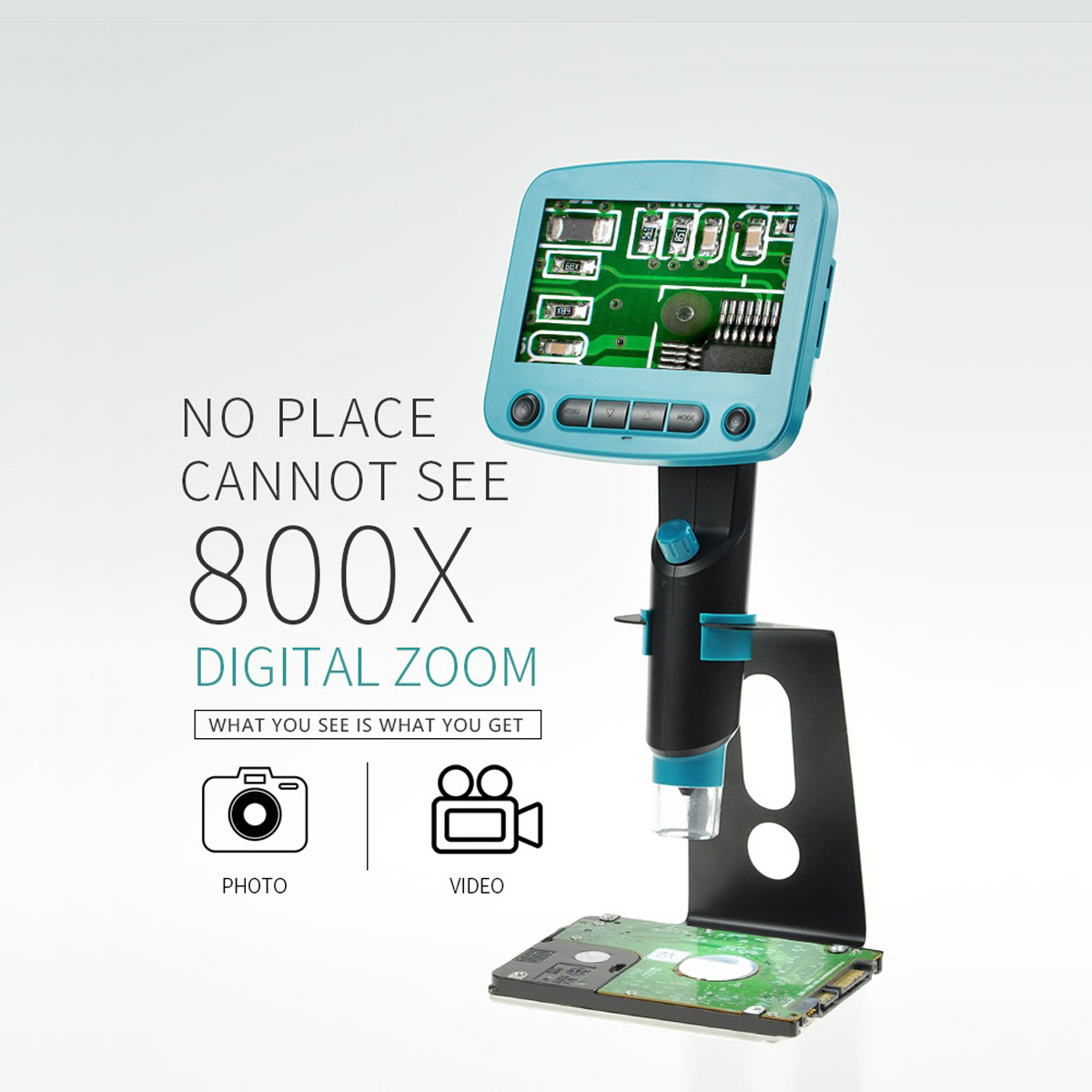 800X USB digital LCD microscope 4.3 inch HD OLED Portable 8 LED VGA Camera Video microscopes soldering mikroskop Magnifier