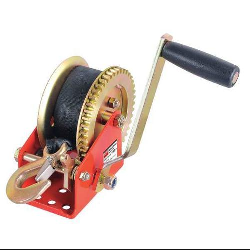 DAYTON 12U365 Ratcheting Winch w/Strap,Spur,1100 lb.