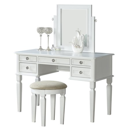 Bobkona Vanity Table With Stool Set In White