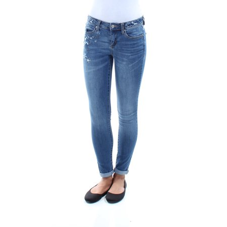 AMERICAN REWASH BRAND Womens Blue Embroidered Cuffed Floral Jeans  Size: 24 Waist