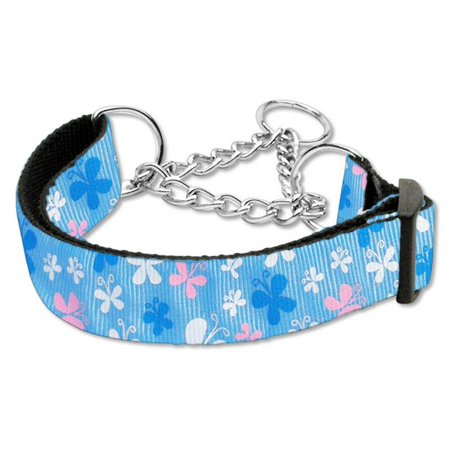 Butterfly Nylon Ribbon Collar Martingale Blue Medium