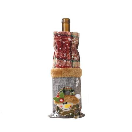 Brand New Wine Bottle Decoration Burlap Snowman Bottle Cover Wine Cover Beam Port - image 1 of 8