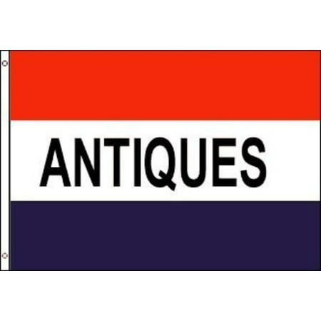 3x5 Foot Message Flag Antiques, BRAND NEW By Neon Sign Express,USA
