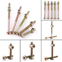 Anauto Connector Bolt, Furniture Fastener, 10 pcs M6 Carbon Steel Furniture Bolts With Barrel Nuts Dowel Nut Connector Fastener