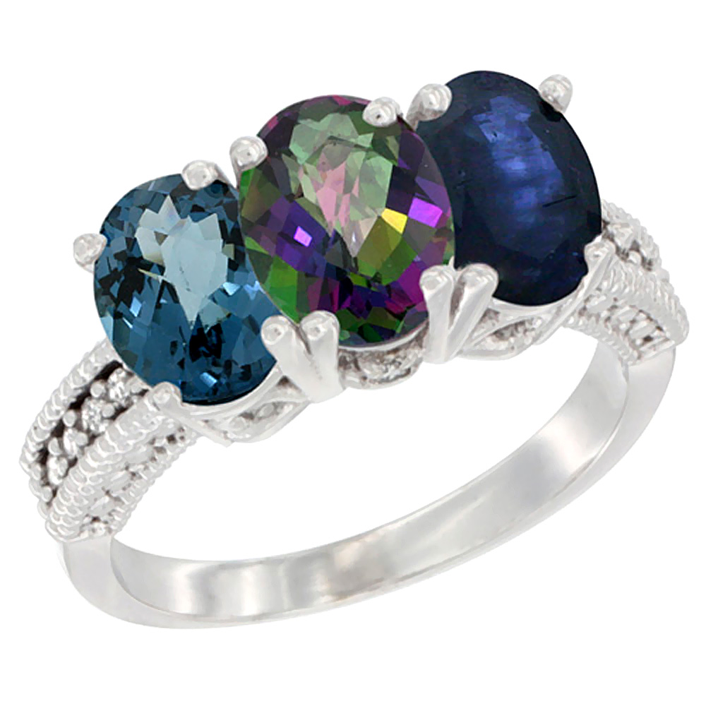 14K White Gold Natural London Blue Topaz, Mystic Topaz & Blue Sapphire Ring 3-Stone 7x5 mm Oval Diamond Accent, sizes 5... by WorldJewels