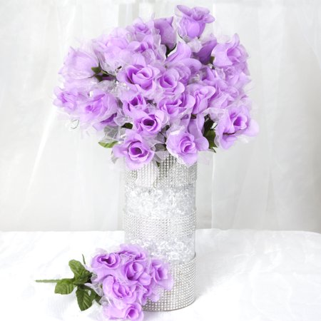 BalsaCircle 84 Organza Rose Silk Buds Flowers - DIY Home Wedding Party Artificial Bouquets Arrangements Centerpieces - Lavender Centerpieces