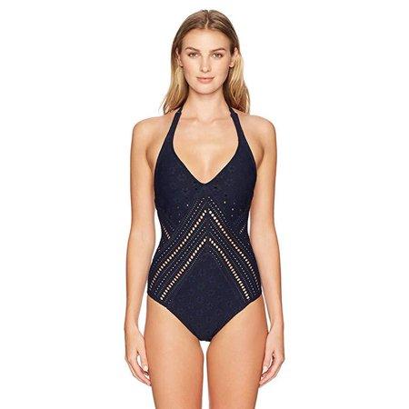 Robin Piccone Women's Clarissa Plunge One Piece Swimsuit, Midnight Navy, SZ