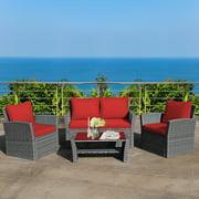 Costway 4PCS Patio Rattan Furniture Set Sofa Table W/Storage Shelf Turquoise