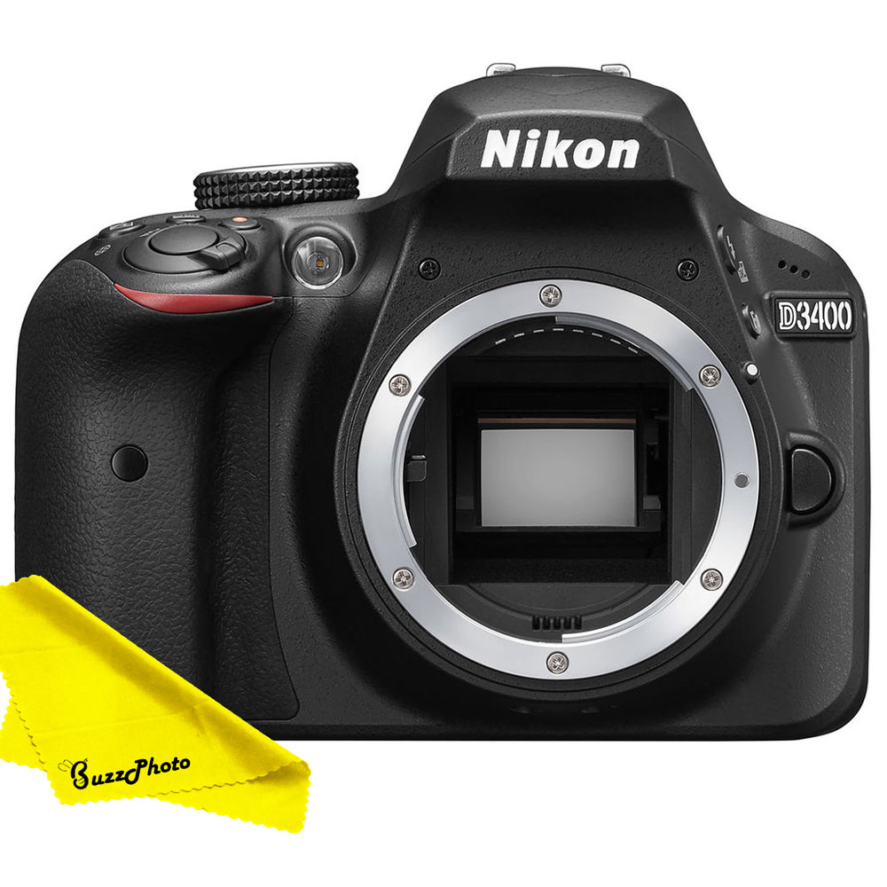 Nikon D3400 DSLR Camera (Body Only) with FREE Buzz-Photo Cleaning Cloth