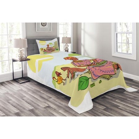 African Woman Bedspread Set, Mother with Her Baby Cooking Dinner Time Rooster Vegetables Maternity Theme, Decorative Quilted Coverlet Set with Pillow Shams Included, Multicolor, by Ambesonne ()