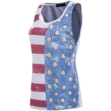 4th of July Independence Day American Flag Tank Tops Womens Vintage Distressed Summer Sleeveless Vest Tee