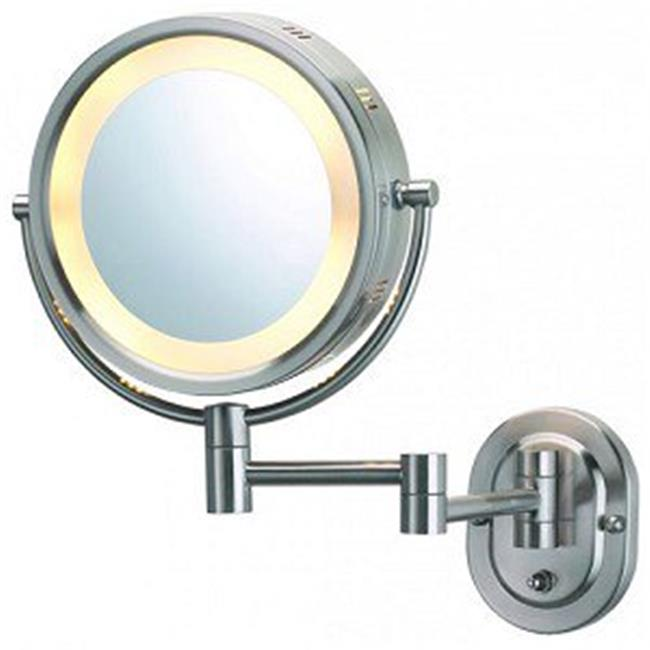 "Jerdon Hard-Wired 8"" 2-Sided Swivel Halo-Lighted Wall Mount Mirror with 5x Magnification, 14"" Extension,"