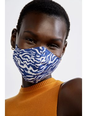 iMPOWER by Prabal Gurung Reversible Face Mask, Navy Animal Print