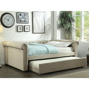 Furniture of America Belassio Contemporary Linen-Like Fabric Daybed with Trundle, Full, Beige