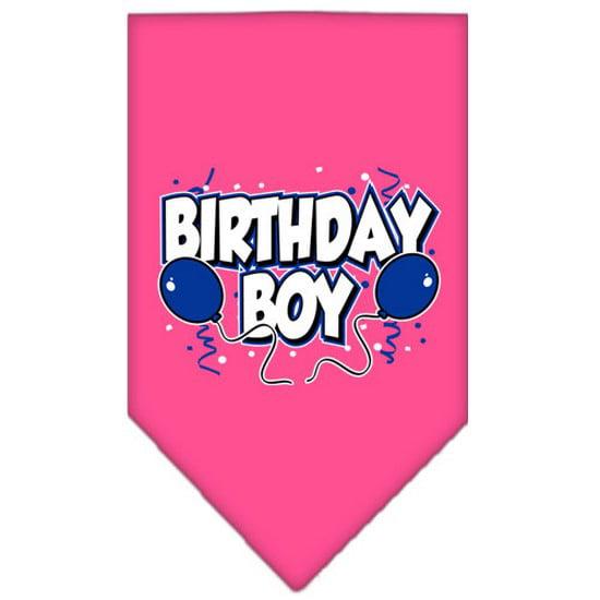 Birthday Boy Screen Print Bandana Bright Pink Small