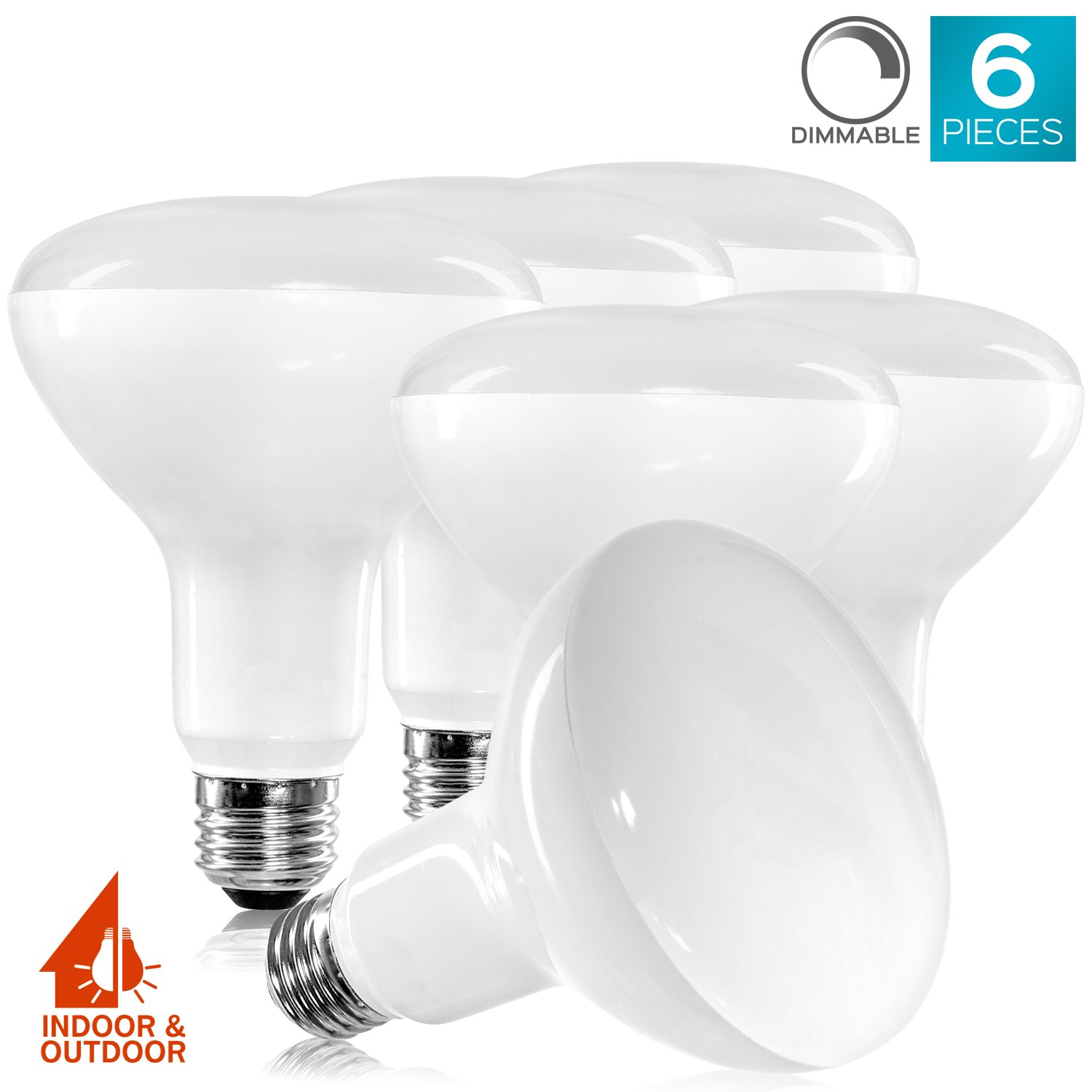 6-Pack BR30 LED Bulb, Luxrite, 65W Equivalent, 4000K Cool White, Dimmable, 650 Lumens, LED Flood Light Bulbs, 9W, E26 Medium Base, Damp Rated, Indoor/Outdoor - Living Room, Kitchen, Recessed Lighting