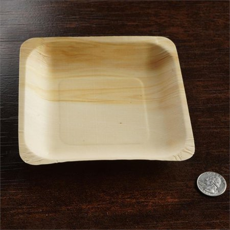 """BalsaCircle 25 pcs 5.6"""" Disposable Natural Birch Wooden Square Plates - Eco Friendly Biodegradable Wedding Party Tableware"""