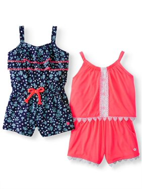 2946affba Product Image Printed and Lace Rompers, 2-Pack (Little Girls)