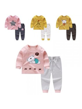 Topumt Baby Toddler Kids Boys Pjs Sleepwear Set Long Clothes Nightwear Outfits 0-6T
