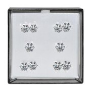 Dimaya Surgical Steel and Silvertone Clear Cubic Zirconia Stud 5-pair Earring Set