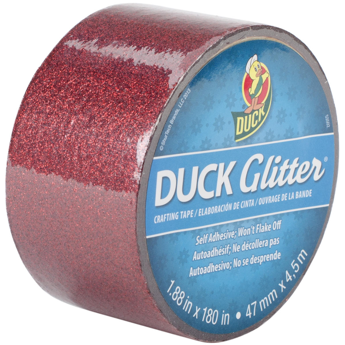 "Duck Tape Glitter Crafting Tape, 1.88"" Wide Roll, Red"