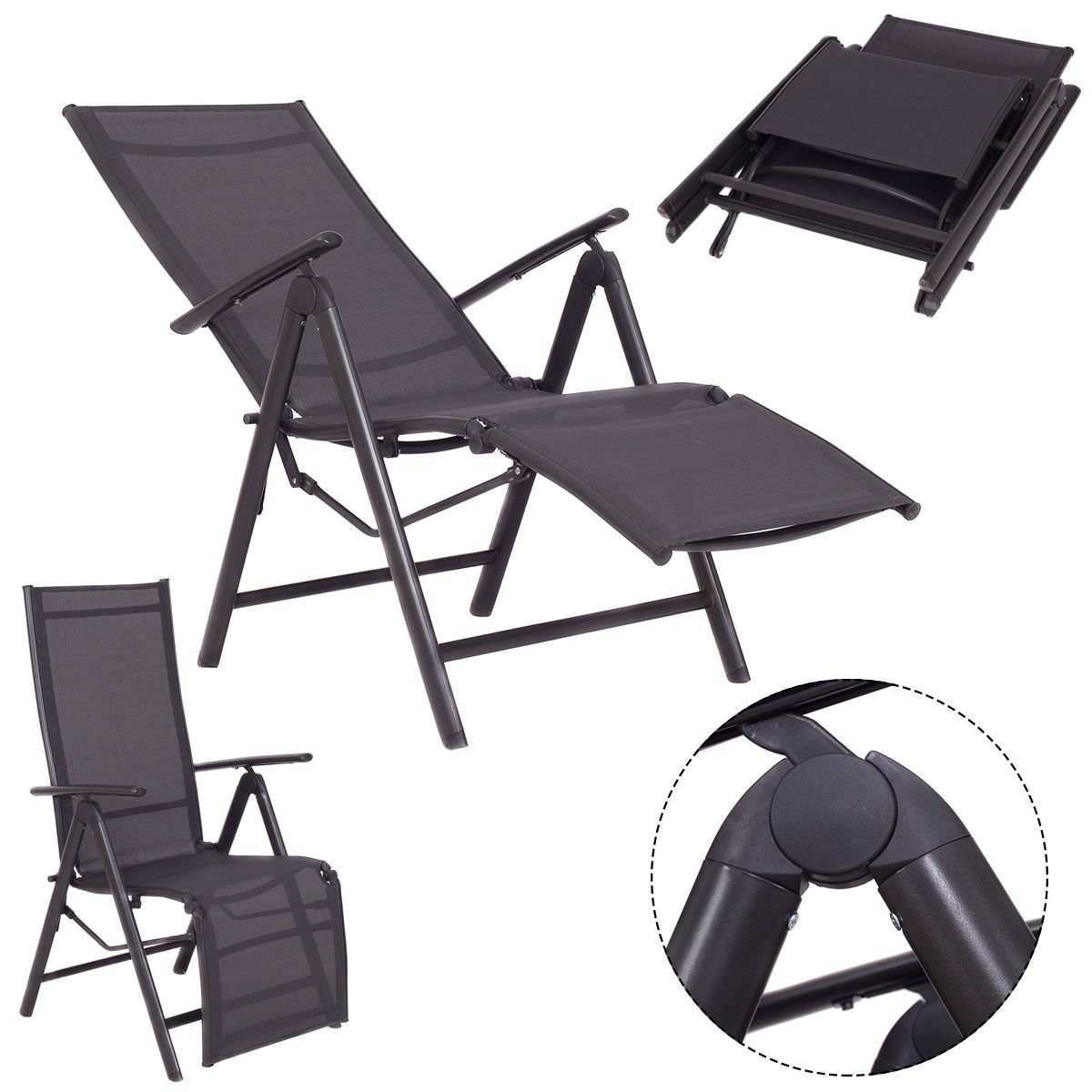 New Adjustable Folding Lounge Chaise Chair Recliner Outdoor Patio Furniture