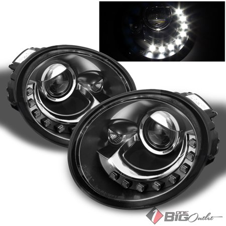 1998 2005 Vw Beetle Black Drl Daytime Running Led Projector Headlights Lh Rh Pair L R 1999 2000 2001 2002 2003 2004