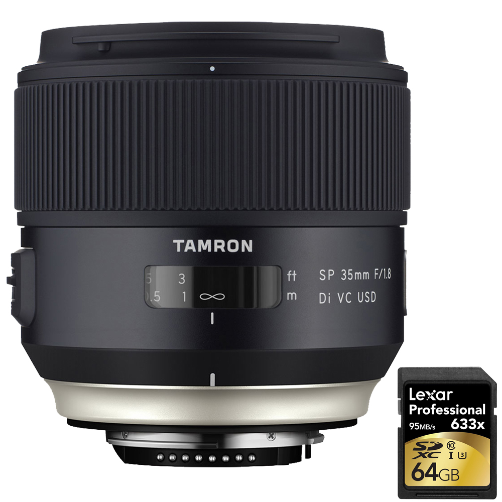 Tamron SP 35mm f 1.8 Di VC USD Lens for Canon EOS Mount (AFF012C-700) with Lexar 64GB Professional 633x SDXC Class 10... by Tamron