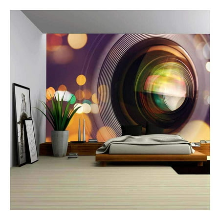 wall26 Photographic Camera Lens Front Glass with Bokeh Light, Macro Shot - Removable Wall Mural | Self-Adhesive Large Wallpaper - 66x96 (Lenses With The Best Bokeh)