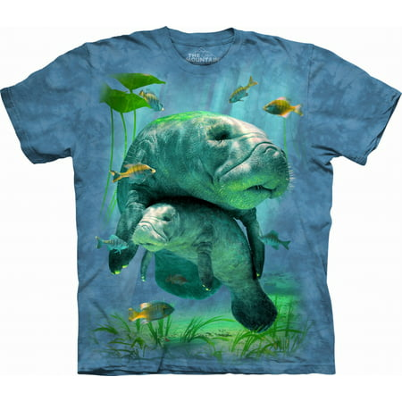 The Mountain MANATEES COLLAGE Blue Adult Unisex T-Shirt (T Shirts 3x)
