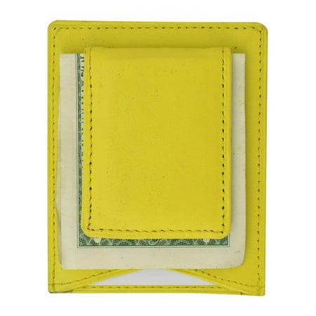 Mens Genuine Leather Magnetic Money Clip Credit Card Holder Wallet 910R (C)