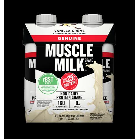 Muscle Milk Geniune Shake  25 Grams Of Protein  Vanilla Cr Me  11 Oz  4 Ct