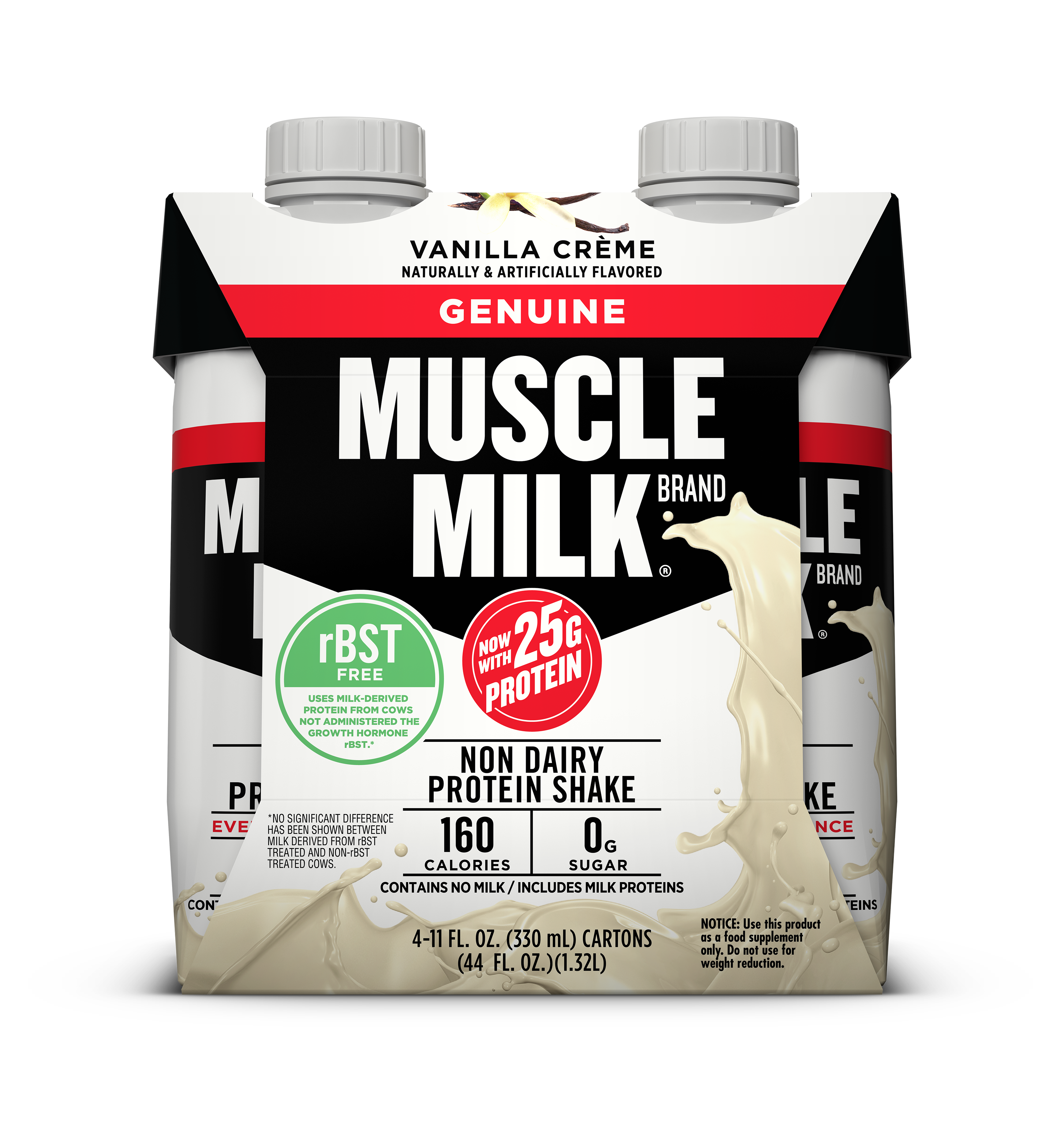Muscle Milk Genuine Protein Shake, Vanilla Cream, 25g Protein, 4 Ct